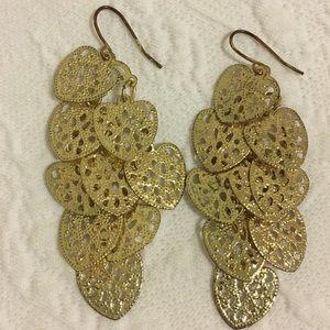 Gold leaf dangly earrings (never worn)